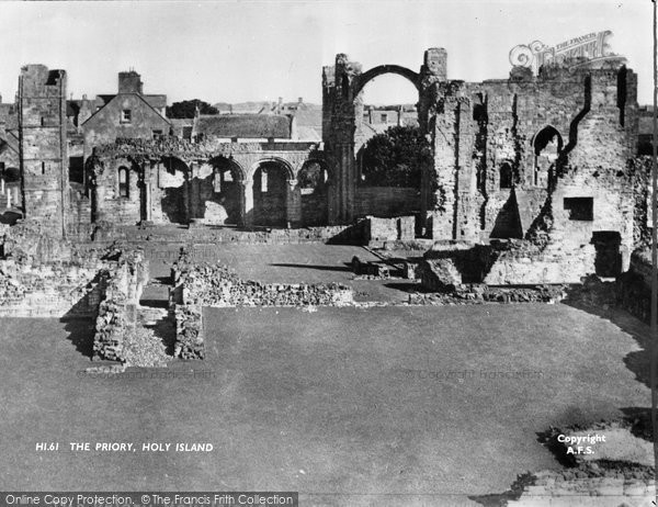Photo of Holy Island, The Lindisfarne Priory c.1950