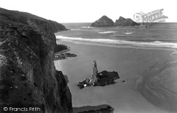 The Sands, The Chapel And Gull Rocks 1931, Holywell Bay