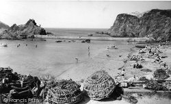 Lobster Pots And The Beach c.1960, Hope Cove