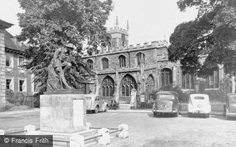 Huntingdon, All Saints Church and War Memorial c1955