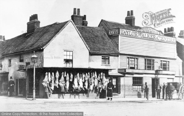Photo of Ilford, Butcher's Shop And The White Horse, Broadway 1865