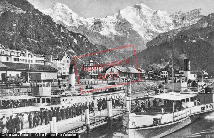 Photo of Interlaken, Steam Boat Station, Monch And Jungfrau c.1930