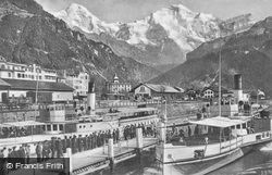 Steam Boat Station, Monch And Jungfrau c.1930, Interlaken