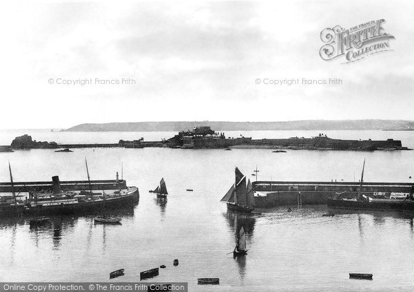 Photo of Jersey, St Helier, The Harbour And Elizabeth Castle c.1890