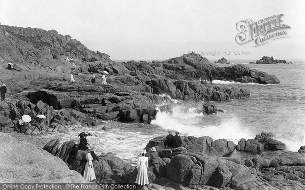 Photo of Jersey, Watching The Breakers, Corbiere c.1900
