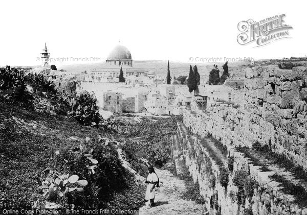 Photo of Jerusalem, City Wall And Mosque Of Omar (Dome Of The Rock) 1857