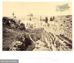 Jerusalem, City Wall And Mosque Of Omar (Dome Of The Rock) 1857
