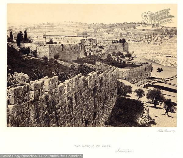 Photo of Jerusalem, The Mosque Of Aksa And Distant View Of The Mount Of Olives 1857