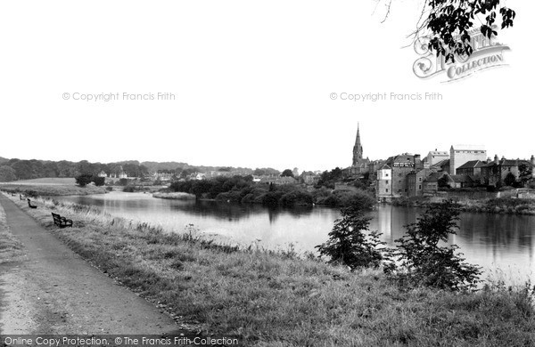 Photo of Kelso, meeting of the Rivers Tweed and Teviot c1950, ref. k55004