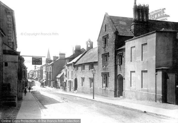 Photo of Kingsbridge, Fore Street and Grammar School 1895