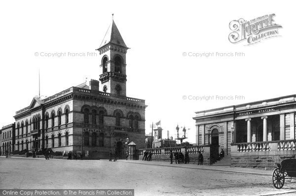 Photo of Kingstown, Town Hall And Railway Station 1897