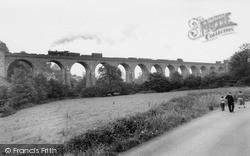 Steam Train On The Knucklas Viaduct c.1955, Knighton