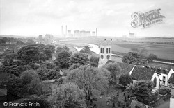St Botolph's Church And Power Station c.1965, Knottingley