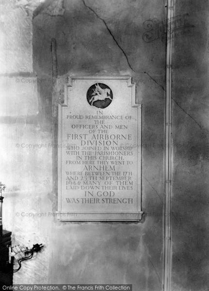 Photo of Langham, The Arnhem Plaque Inside The Church c.1950
