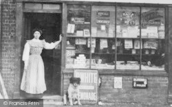 Langley, High Street Shop, A Woman And Dog c.1890