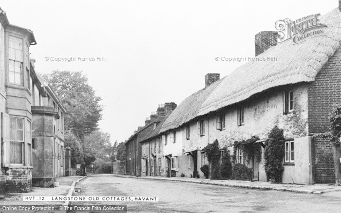 Photo of Langstone, Old Cottages c.1955