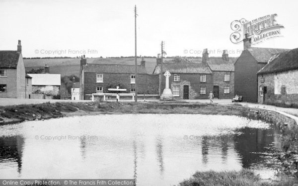 Photo of Langtoft, The Memorial And Pond c.1955