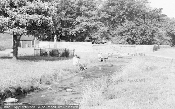 Photo of Langwith, Paddling By The Green c.1955