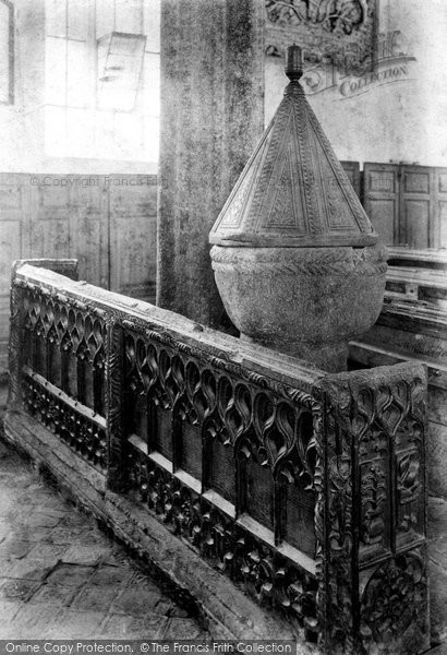 Photo of Launcells, St Swithin's Church, Carved Pews And Early Norman Font 1906