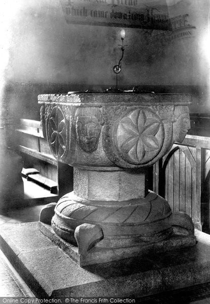 Photo of Launceston, Norman Font In St Thomas's Church 1906