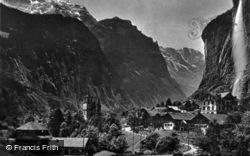 Staubbach And Jungfrau c.1930, Lauterbrunnen