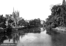 Leamington Spa, All Saints' Church And The River Leam 1922