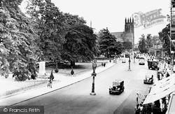 Leamington Spa, Lower Parade And All Saints' Church c.1950