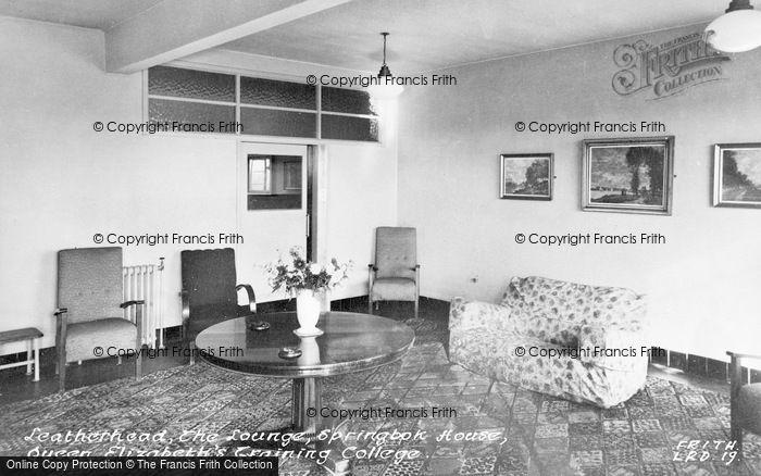 Photo of Leatherhead, Queen Elizabeth Training College, Springbok House Lounge c.1955