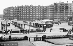 Leeds, The Bus Station And Quarry Hill Flats c.1960