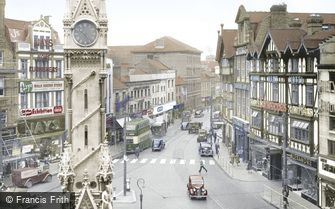 Leicester, Clock Tower and Belgrave Gate c1955