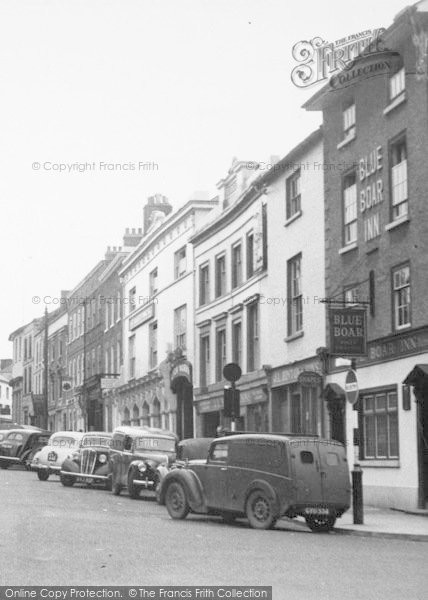 Photo of Leominster, Blue Boar Inn And Broad Street c.1955