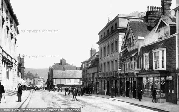 Photo of Lewes, High Street And White Hart Hotel 1903