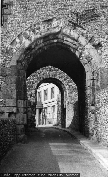 Photo of Lewes, The Norman Archway From Barbican Tower c.1955