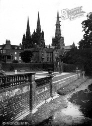 Lichfield, Cathedral And Gardens Of Remembrance c.1955