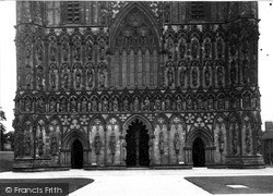 Lichfield, Cathedral, Detail Of West Front c.1955