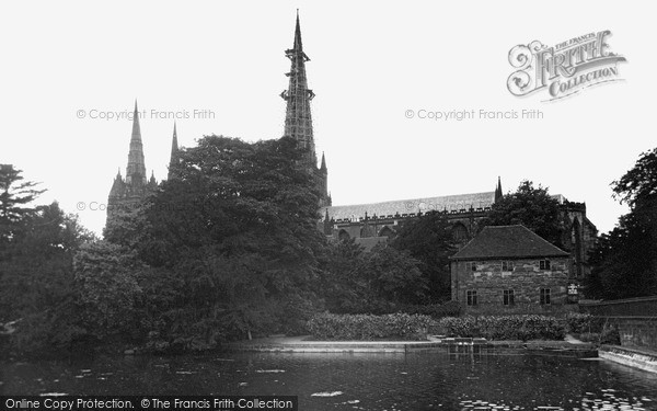 Photo of Lichfield, Cathedral From The Pool c.1955