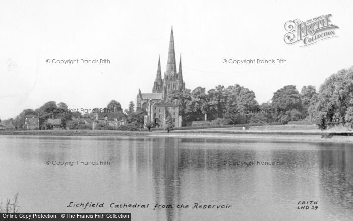 Photo of Lichfield, Cathedral From The Reservoir c.1955