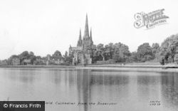 Lichfield, Cathedral From The Reservoir c.1955