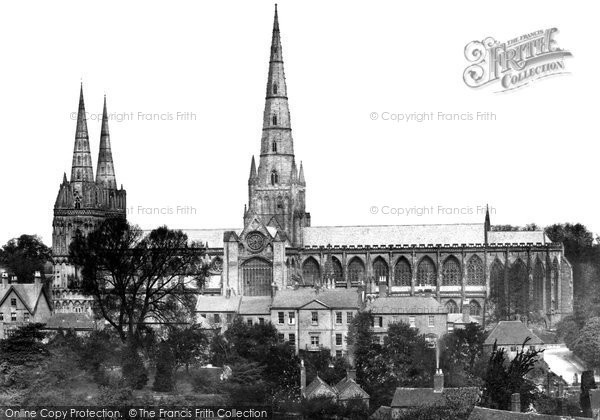 Photo of Lichfield, Cathedral From The South c.1866