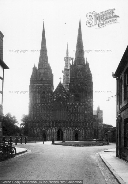 Photo of Lichfield, Cathedral West Front c.1955