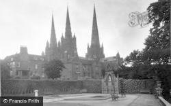 Lichfield, Garden Of Remembrance And Cathedral c.1950