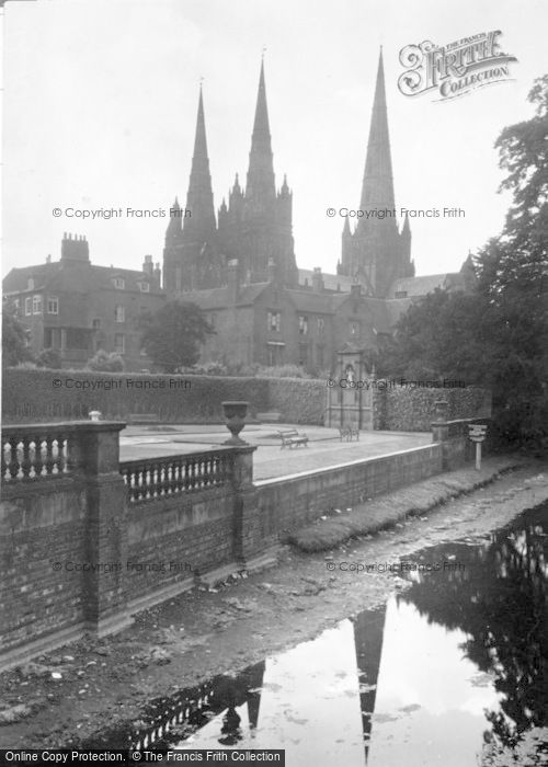 Photo of Lichfield, Minster Pool And Cathedral c.1950