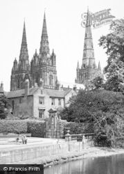 Lichfield, The Cathedral And Garden Of Remembrance c.1955