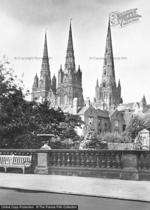 Photo of Lichfield, The Cathedral And War Memorial c.1930