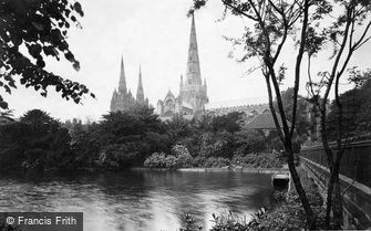 Lichfield, the Cathedral, from south east c1880