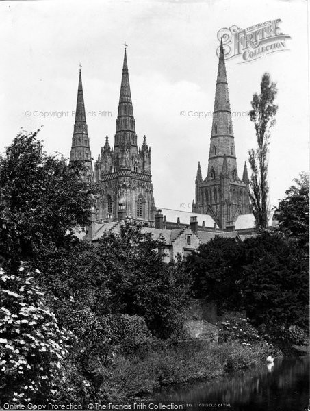 Photo of Lichfield, The Cathedral From The Lake c.1880