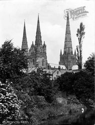Lichfield, The Cathedral From The Lake c.1880