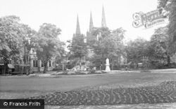 Lichfield, The Cathedral From The Park c.1955