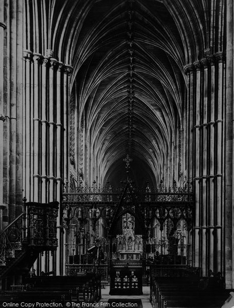 Lichfield, The Cathedral, Nave And Screen c.1880
