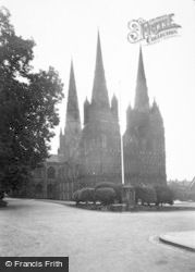 Lichfield, The Cathedral, North West c.1955